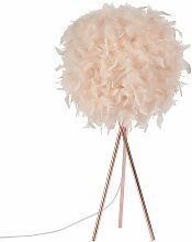 Lampe aus Metall, Lampenschirm aus rosa Federn