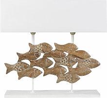 Lampe Fische mit geschnitztem Mangoholzfuß und