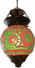 Lampe Hängeleuchte Leuchte Mosaik Rund Orientalisch Dekoleuchte Grün Orange 14 cm Ø