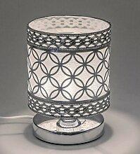 Lampe, Leuchte KREISE rund H. 20cm D. 14cm silber