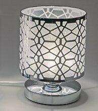 Lampe, Leuchte NETZ rund H. 20cm D. 14cm silber