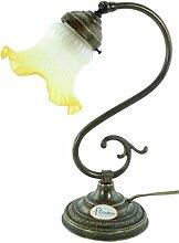 Lampe Messing brüniert Tischleuchte, Nachttisch,