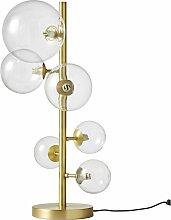 Lampe mit 6 Glaskugelschirmen und goldfarbenem