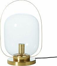 Lampe mit goldfarbenem Metallfuß und Glasschirm