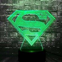 Lampe mit Logo Superman für Kinder, Farbwechsel,