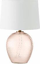 Lampe mit ziseliertem rosa getöntem Glasfuß und