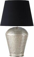 Lampe mit ziseliertem silberfarbenem Metallgestell