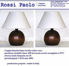 Lampe Tischleuchte SVLSCh0014Nachttischlampe KUGEL AUS HOLZ gedreht mit Lampenschirm; eigener Produktion, Made in Italy noce coppia