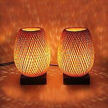 Lampen Nachttischlampe aus Bambus éco-design, paarweise. Geflecht handgefertigt Original und ursprünglichen des Vietnam–Lampe aus Bambus–Rattan Laterne Kronleuchter–220–240V
