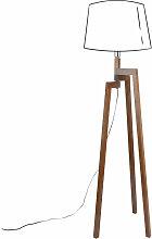 Lampenfuß aus dunklem Kautschukholz H132