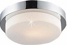 Lampenlux Aussenleuchte Dario IP44 230V E27 Ø35cm Deckenlampe Badlampe Rund Glas Chrom Terasse Deckenleuchte