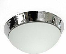 Lampenlux LED Aussenleuchte Dodo IP44 230V Deckenlampe Badlampe Rund Glas Fassung E27 Ø40cm Terasse Chrom Badezimmer Flur Deckenleuchte