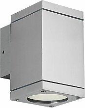 Lampenlux LED Außenleuchte Elton Außenlampe Wandlampe Wandleuchte Down Light 11,5x8x8,9cm IP54 GU10 Eckig Silber Tür Aluminium