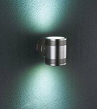 Lampenlux LED Aussenleuchte Igor Wandlampe Wandleuchte Up Down Rund Chrom Aluminium IP54