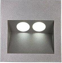 Lampenlux LED Einbaustrahler Aussenleuchte Taimy IP65 230V Spot Eckig Aluminium Down