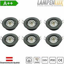 Lampenlux LED Einbaustrahler Samila rund 6er Set