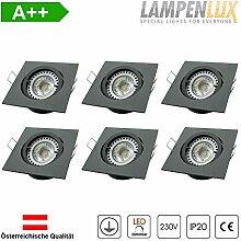 Lampenlux LED Einbaustrahler Snap eckig 6er Set
