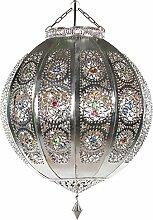 Lampenschirm Orientalische Lampe Rana silber 40cm marokkanische Hängelampe arabische Glaslampe Orientleuchte