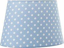 Lampenschirm Oval 22cm Hellblau mit weißen Punkten