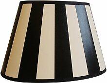 Lampenschirm, oval, schwarz-weiß, gestreift, 24