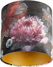 Lampenschirm velours 20/20/20 Blumen - gold