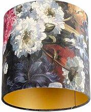 Lampenschirm velours 25/25/25 Blumen - gold