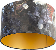 Lampenschirm velours 35/35/20 Blumen - gold