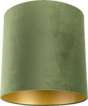 Lampenschirm velours 40/40/40 grün - gold