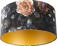 Lampenschirm velours 50/50/25 Blumen - gold
