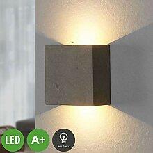 Lampenwelt LED Beton Wandleuchte, Wandlampe Innen