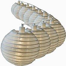 Lampion Lichterkette mit 25 LED Lampions weiß Ø