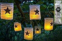 Lampion mit LED 12 tlg 6 Lampen mit Stern Design 6 LED Kerze - kann auch Einzeln gestellt werden