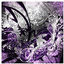Lana KK Fototapete Poster Tapete - edler Kunstdruck auf Vliestapete in 120 x 120 cm, lila, JungleGrafFlieder