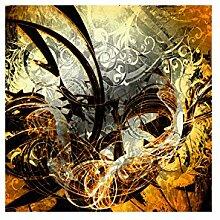 Lana KK Fototapete Poster Tapete - edler Kunstdruck auf Vliestapete in 120 x 120 cm, orange, JungleGrafOrange