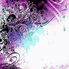 Lana KK Fototapete Poster Tapete - edler Kunstdruck auf Vliestapete in Stuck Optik, 240 x 240 cm, Jungle Drum Pink Blau Silber