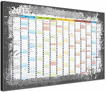 Lana KK - Kalender 2015 Graphit - edel Leinwand Bild Jahresplaner Design Kalender, fertig gerahmt in 100x70 cm