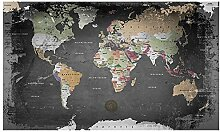 Lana KK  Weltkarte Fototapete Vlies Tapete Poster, Erde Welt Atlas in 300 x 180 cm - Weltkarte Graphit -