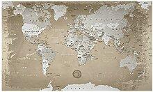 Lana KK  Weltkarte Fototapete Vlies Tapete Poster, Erde Welt Atlas in 300 x 180 cm - Weltkarte Natur -