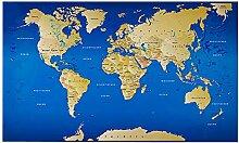 Lana KK  Weltkarte Fototapete Vlies Tapete Poster, Erde Welt Atlas in 300 x 180 cm - Weltkarte Blau -