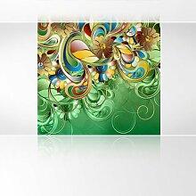 LanaKK - Curvature Grün - Fototapete Poster-Tapete - edler Kunstdruck auf Vliestapete in 180x180 cm