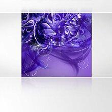 LanaKK - Emotion Curvature Blau Violett - Fototapete Poster-Tapete - edler Kunstdruck auf Erfurt Vliestapete mit Stuck Optik in 180x180 cm