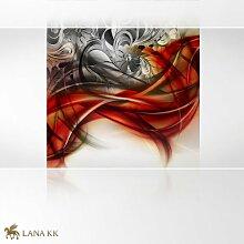 LanaKK - Emotion Curvature Rot - Fototapete Poster-Tapete - edler Kunstdruck auf Erfurt Vliestapete mit Stuck Optik in 180x180 cm