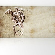 LanaKK - Feuerdrache - Fototapete Poster-Tapete - edler Kunstdruck auf Vliestapete mit Stuck Optik in 420x240 cm