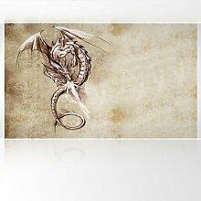 LanaKK - Feuerdrache - Fototapete Poster-Tapete - edler Kunstdruck auf Vliestapete mit Stuck Optik in 300x180 cm