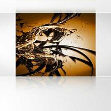 LanaKK - Graf Braun Orange - Fototapete Poster-Tapete - edler Kunstdruck auf Vliestapete mit Stuck Optik in 300x240 cm