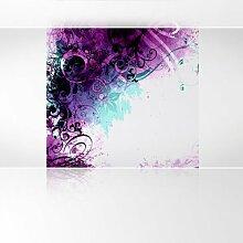 LanaKK - Jungle Ddrum Pink Blau - Fototapete Poster-Tapete - edler Kunstdruck auf Vliestapete in 180x180 cm