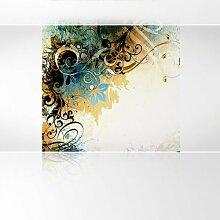 LanaKK - Jungle Drum Braun - Fototapete Poster-Tapete - edler Kunstdruck auf Vliestapete mit Stuck Optik in 240x240 cm