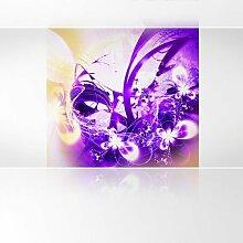 LanaKK - Lightning Lila - Fototapete Poster-Tapete - edler Kunstdruck auf Vliestapete mit Stuck Optik in 180x180 cm
