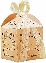 Lance Home 50 stk Elefant Hochzeit Taufe Gastgeschenk Geschenkbox Kartonage Schachtel Tischdeko Bonboniere Box Hochzeit Dekoration (Rosa)