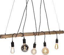 Land Hängelampe Holz mit schwarzem 5-Licht - Dami
